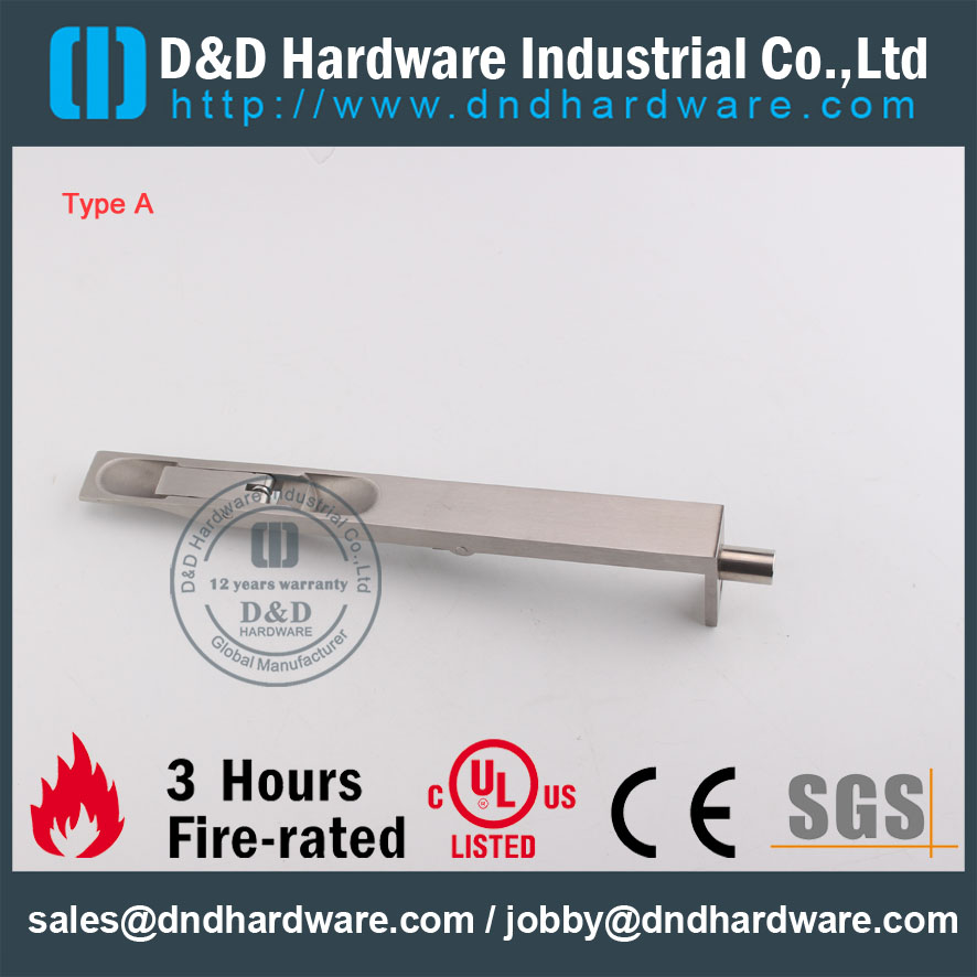 D&D Hardware-CE Fire Rated Stainless Steel Door Bolt DDDB001
