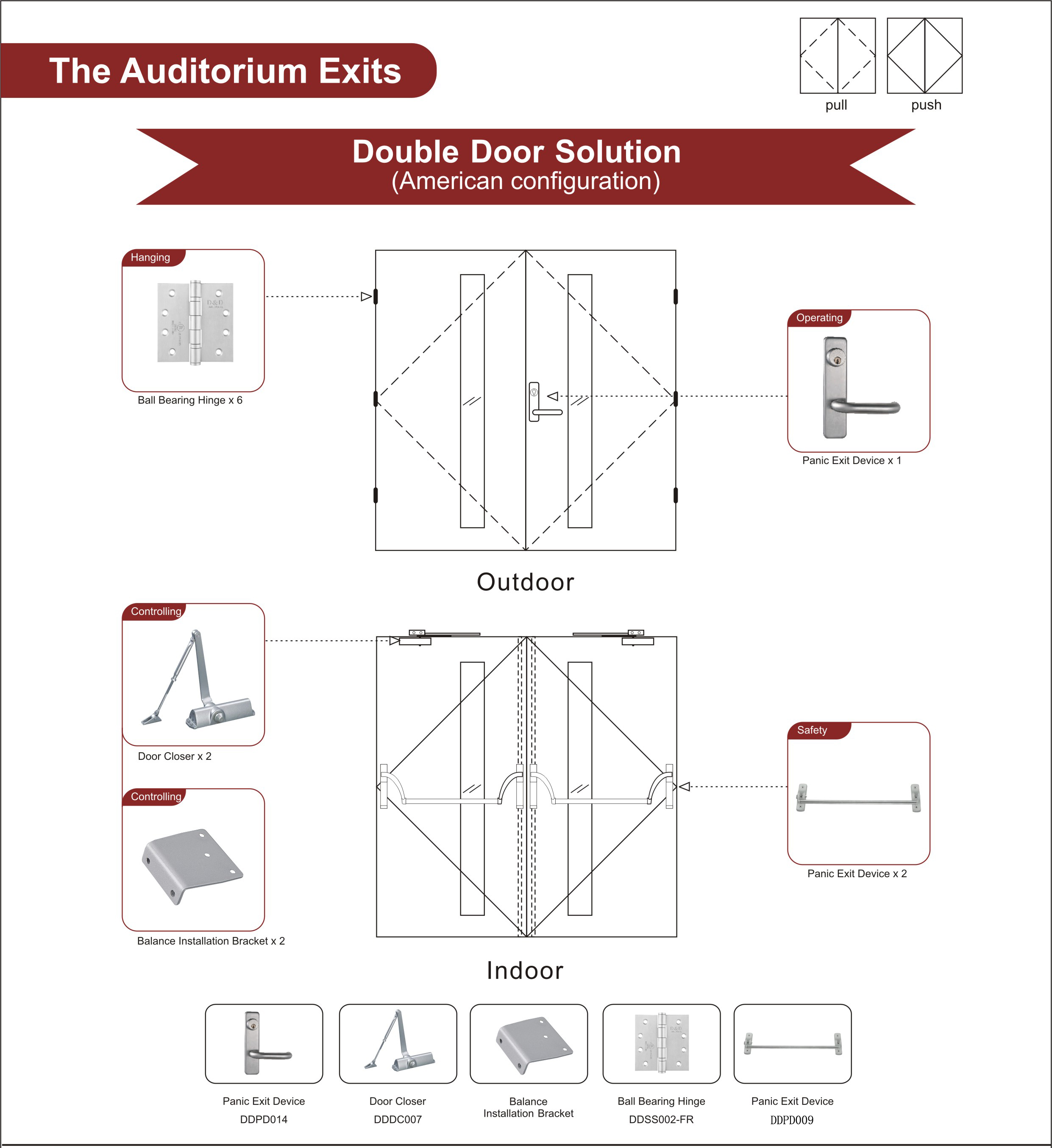 Fire Rated Wooden Door Hardware For The Auditorium Exits Double Door