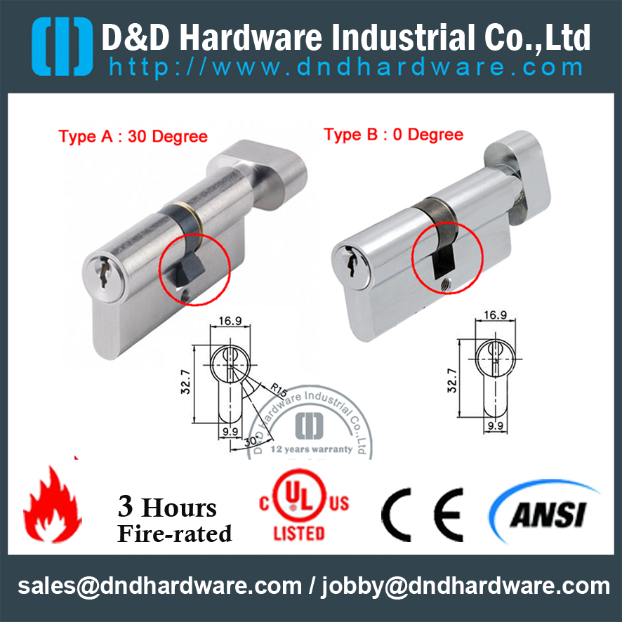 Anti-snap Euro Cylinder Locks for Entry Door with Thumb Turn-DDLC002