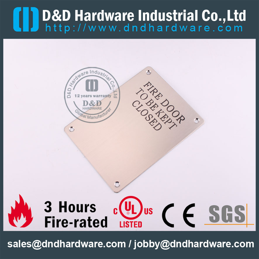 D&D Hardware-SWholesale Grade SS304 Fire Door Signature DDSP010