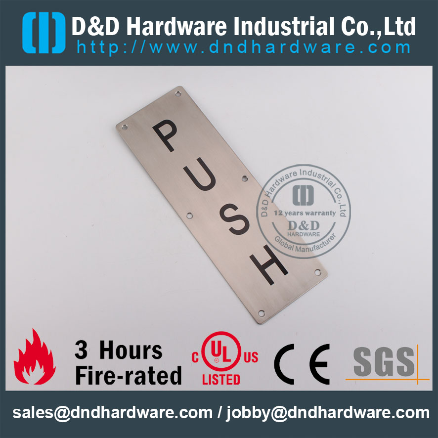 Stainless Steel 304 PUSH Plate 100x300mm for Exterior Wooden Doors –DDSP004