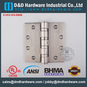 ANSI / BHMA GRADE 1 SUS304 UL Fire Rated 4 Ball Bearing Butt Hinge for Metal Door- 4.5x4.5x4.6mm-4BB