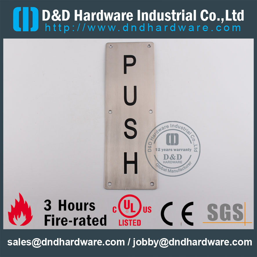 D&D Hardware-Modern Interior Square Type PUSH Plate DDSP004