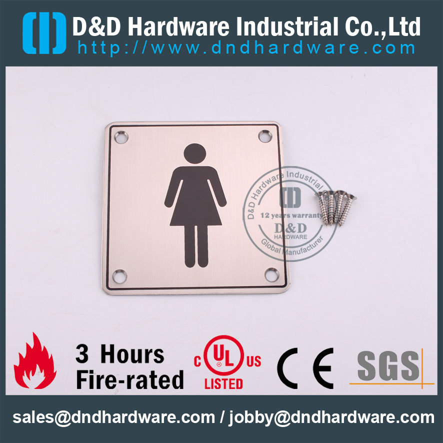 D&D Hardware-Square SS304 Female 100x100mm Washroon Sign Plate DDSP002