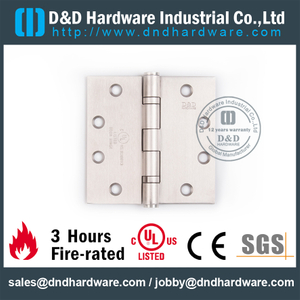 3 Hours Fire-rated Full Mortise Door Hinge for Office Wooden Door with UL Certificate-DDSS002-FR-4.5x4.5x3.0mm