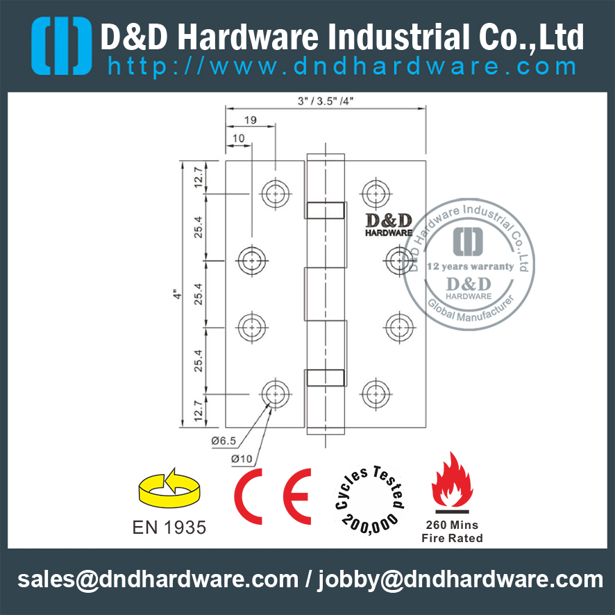 SS316 CE Fire Rated 2BB Door Hinge DDSS001-4x3.5x3.0mm