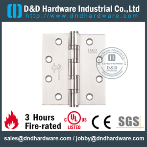 Stainless Steel Grade 304 Full Mortise Fire Rated Door Hinge with UL Certificate for Fire Wooden Door-DDSS003-FR-4x4x3.0mm