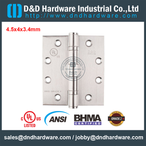 ANSI / BHMA GRADE 2-SUS316 Classical UL Fire Rated 2 Ball Bearing Hinge for Interior Door-4.5x4x3.4mm