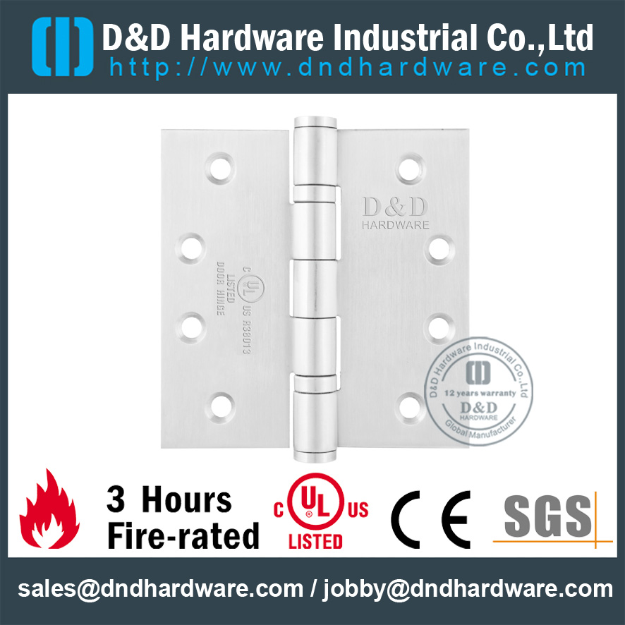 UL Four Ball Bearing SS Grade 304 Fire Rated Door Hinge for Tall Steel Door-DDSS003-FR-4x3.5x3.0mm