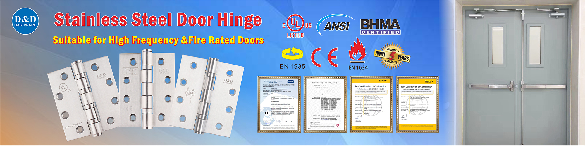 What are the requirements for the hinge of fire door?