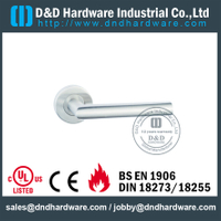 Stainless Steel 201 Tube Fire Rated Hollow Lever Door Handle for interior Steel Door-DDTH003