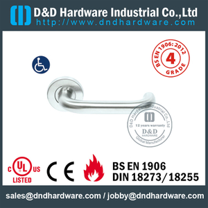 S304 Hollow U Shape Safety Fire Rated Lever Door Handle For Office Wooden Door with EN1906-DDTH001
