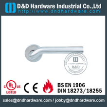 SS304 Hollow Tube Mitred Shape Lever Handle for Exterior Steel Door-DDTH015