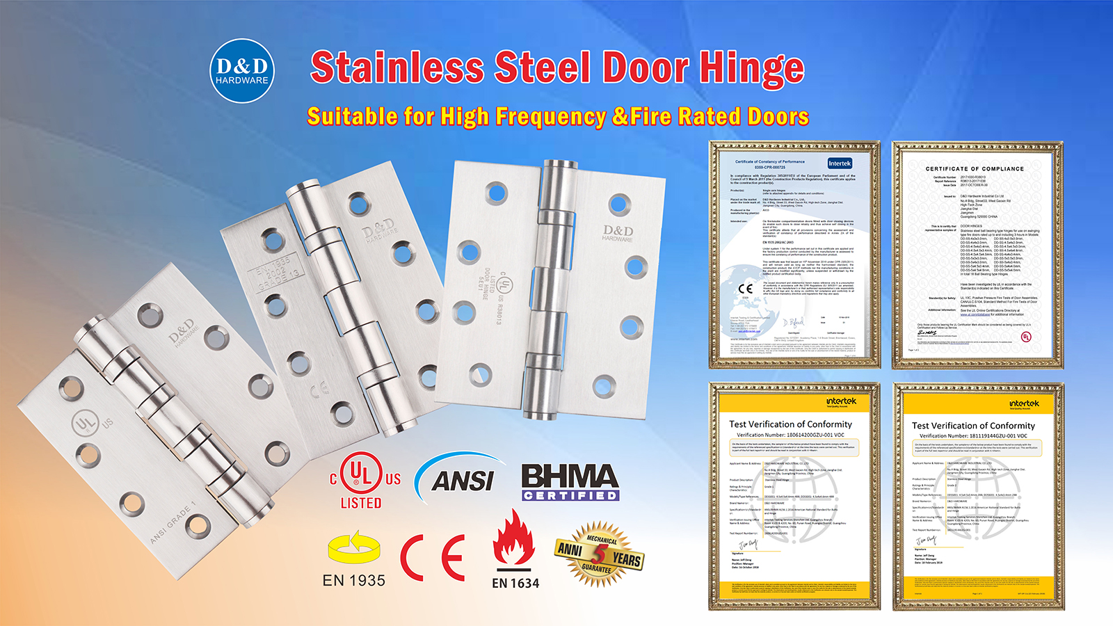 stainless steel fire rated ball bearing hinge